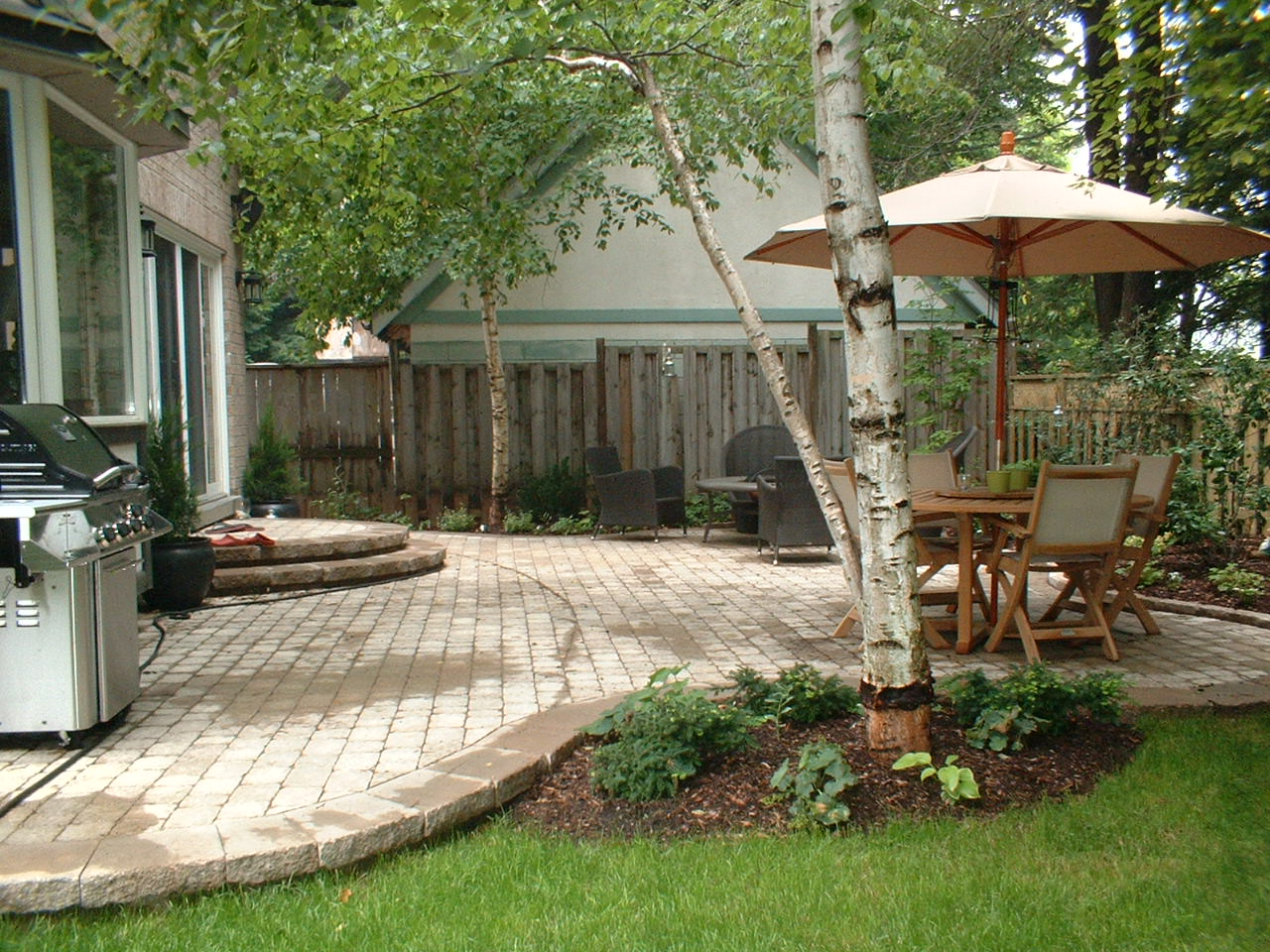side view of patio from lawn